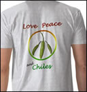 Love Peace and Chiles Tee Shirt design by Cameron Stevenson